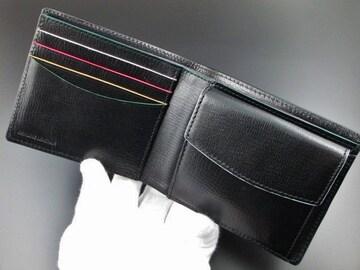 新品☆箱付 ポールスミス カラーフラッシュ 二つ折り財布 黒