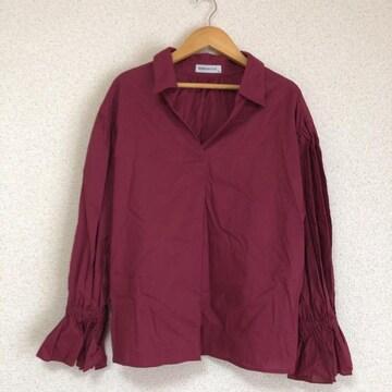ブラウニー きれい色、オープンネックゆったりシャツ、カットソー★