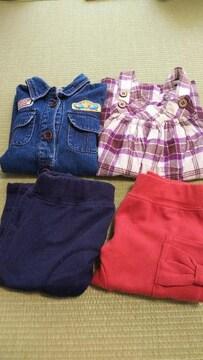 【送料込】ワンピース・ズボン4点セット/女の子/90〜95cm