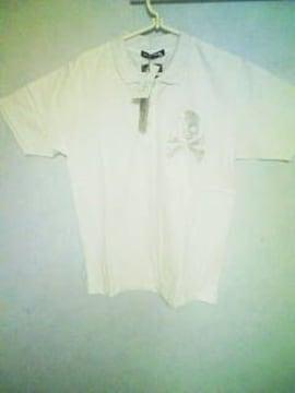 Aー80★新品★半袖スパンコールスカルポロシャツ M