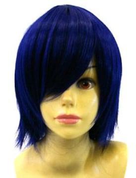 即納可能★即決★ フルウィッグ レイヤーボブ 青/ブルー D3