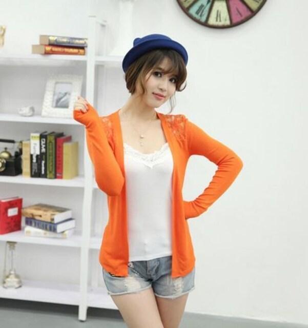 可愛いバックレース★カーディガン(フリーサイズ・オレンジ系) < 女性ファッションの