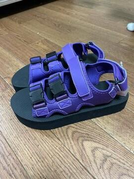シンプルかわいい サンダル 紫×黒 24.5cm