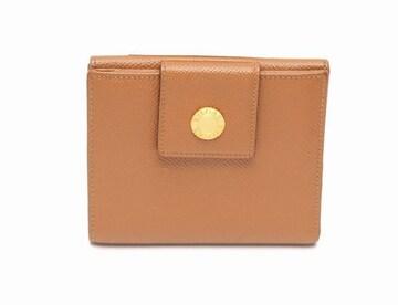 ブルガリブルガリ レザー Wホック財布 キャメル【送料無料】