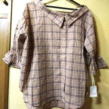 新品タグ付★片側オフショ五分袖シャツ/ベージュM