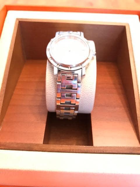 ●HERMES●腕時計/ダイヤ/ピンクシェル文字盤/正規品 < ブランドの