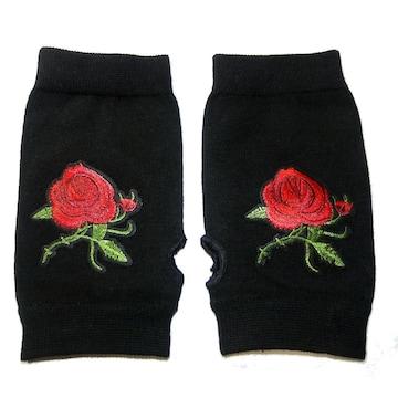薔薇 バラ ローズ ワッペン ハンドカバー グローブ 指なし 手袋