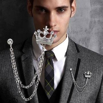 王冠ブローチ ラペルピン 立体的 2連デザインチェーン シルバー