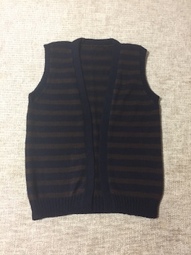 686.編み機☆ゆったり前開きロングベスト☆茶色×紺