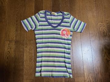 送料無料/ヒステリックグラマー/グリーン横ストライプロゴマーク入りTシャツ細身の方に