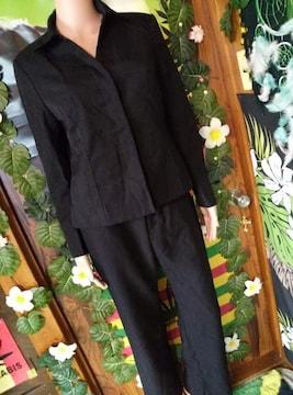 13AR*冠婚葬祭。*ブラックフォーマル†ベーシックパンツスーツ