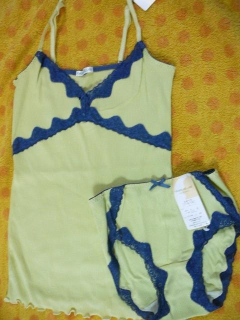 ( FUKUSUKE )Lサイズショーツ+キャミソールセットグリーン  < 女性ファッションの