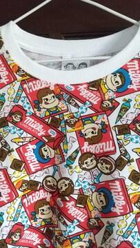 Mサイズ紳士サイズ不二家ペコ!ポコちゃん!お菓子いっぱい!半袖Tシャツ!