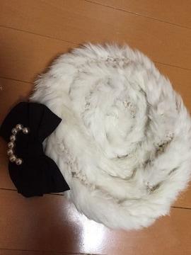 美品☆axes femme☆ファーロシアン帽☆リボン付き☆白☆ホワイト