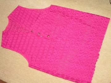 総刺繍レース模様*ベスト*個性的(ピンクパープル)レディース