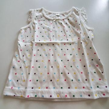 白にカラフル星柄の袖なしTシャツ90
