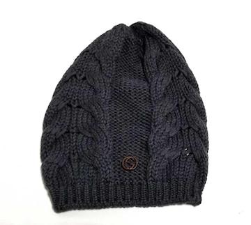 正規新品同様グッチニット帽インターロッキングGG編みグレ