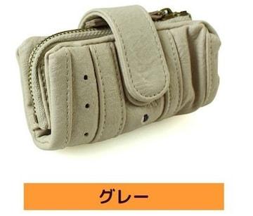 人気☆コインケース付き4リングキーケース★グレー