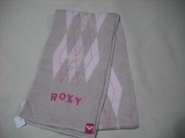 om97 ROXY ロキシー ニットマフラー チェック柄 ピンク