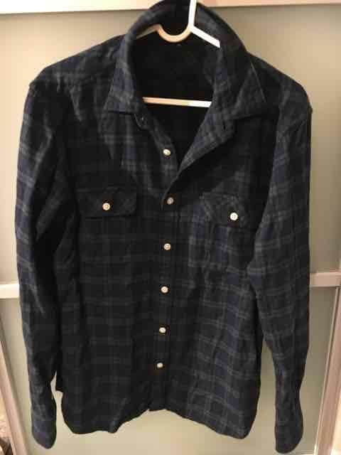 無印良品 チェックシャツ M グリーンxネイビー  < ブランドの