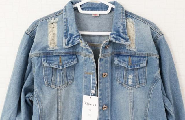 新品[7677]Gジャン(大きいサイズ)ウォッシュ&ダメージ加工 < 女性ファッションの