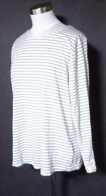 水色ボーダーレース刺繍長袖Tシャツ4L大きいサイズ < 女性ファッションの