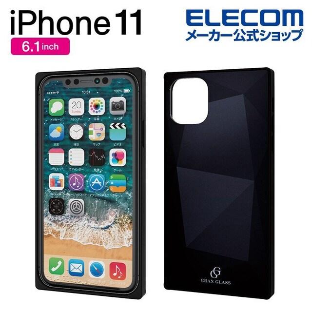 ★ELECOM iPhone11 ハイブリッドケース ガラス スクエア カバー  < 家電/AVの