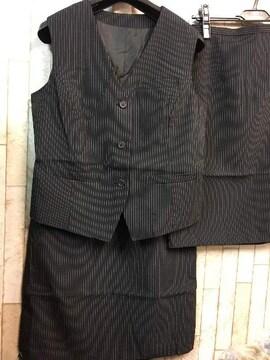 新品☆11号ベストスーツ2枚スカート56丈お仕事オフィスj786