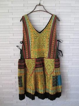 新品/モン族刺繍アコーディオンプリーツボリュームワンピース/S