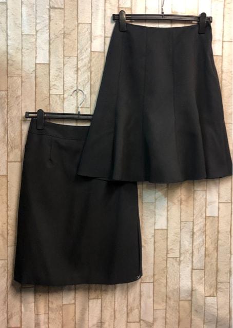 新品☆9号♪黒無地スカート2種付スーツ♪お仕事にも♪55丈☆n898 < 女性ファッションの