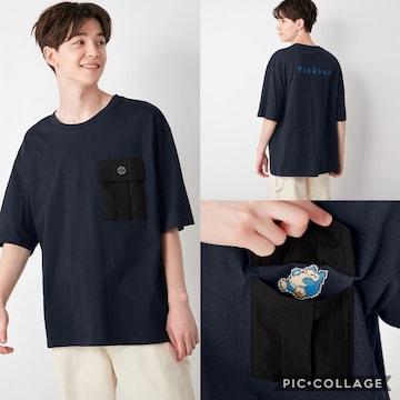 gu ジーユー コットンビッグt  ポケモン 5 半袖 tシャツ トップス メンズ 紺 M