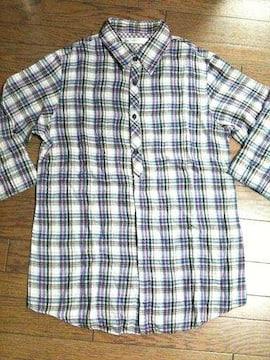 美品SHIPS JET BLUE  チェックシャツ M  日本製 シップス