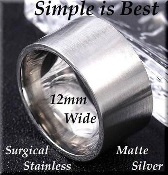 26号/幅12mm/平型リング指輪/ステンレス/シルバー/ペアにもsur01