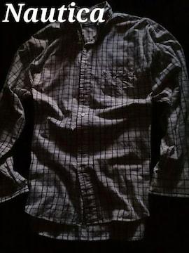 【Nautica】Vintage Washed チェックボタンダウンシャツ L/White