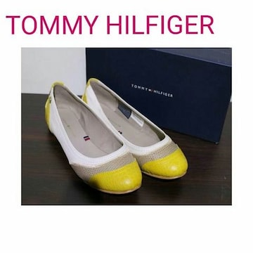 TOMMY HILFIGER レザー クロコ フラットシューズ パンプス 黄 靴