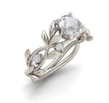 送料込み:ホワイトクリスタル フラワーリーフリング  指輪