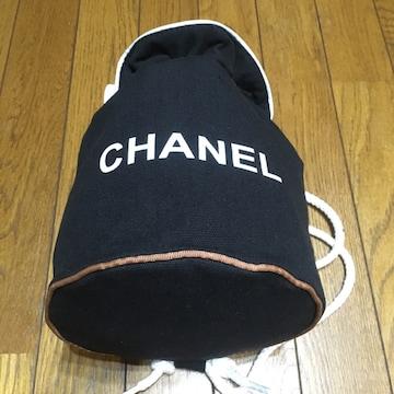シャネル キャンバス 巾着 ショルダーGYMバッグ 黒/白 良品