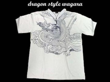 新品 和柄 ヤンキ・b系・チカノスタイルシャツ D15(L) 白