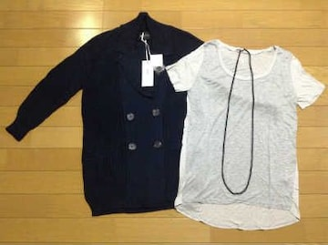 ブラックバイマウジーカーディガン+Tシャツ+ネックレス3点セット新品菜々緒着