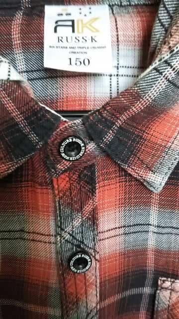 RUSS-K◇フード付き長袖シャツ オレンジ×黒150cm◇美品 < ブランドの
