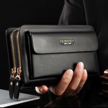 長財布 ダブルラウンドファスナー 大容量 多機能 黒色