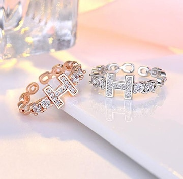 H デザイン ダイヤモンドcz リング Pink Gold SILVER925