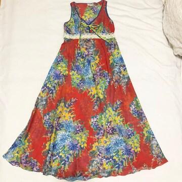 イタリア製Elle-O-Elle花柄マキシ丈ロングワンピース赤