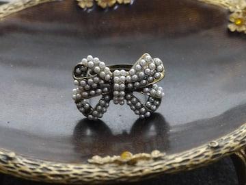 新品ゴスロリ姫系アンティーク調りぼんリング指輪フリー
