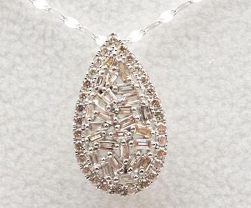 K18WG 合計 0.30ct ダイヤモンド ペンダント ネックレス