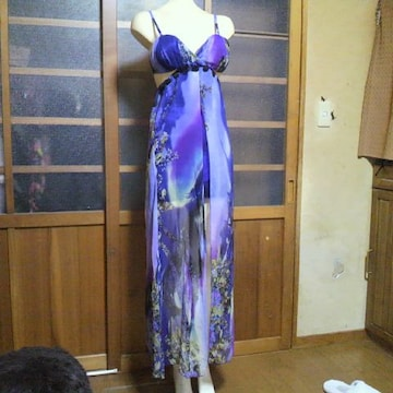 Jewelsパープル 花柄シフォン キャミ ミニドレス