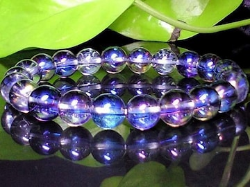 天然石◆アクアオーラブルー高級水晶8ミリ◆数珠
