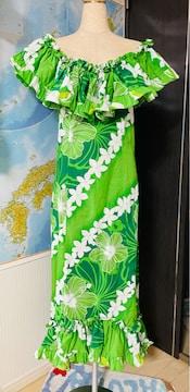ハンドメイド ハワイアンドレス Lサイズ 一度使用 美品