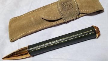 正規 ロエベ エンブレムトップ アナグラム アマソナロゴ ラグジュアリー レザーボールペン 緑