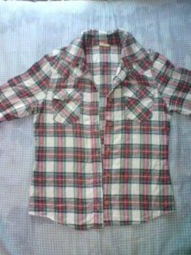 秋冬赤×白チェックシャツ長袖サーフ美品ブレンダ激安アゲハ